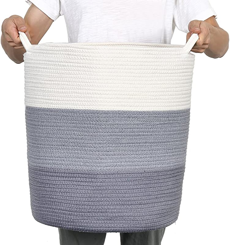 Kenox Extra Large Toy Chest Baskets Cotton Rope Laundry Hamper Woven Storage Organizer Bin 18 16 16 Inches