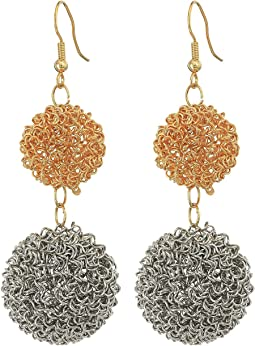 Kenneth Jay Lane Gold/Silver Double Wire Ball Drop w/ Fishhook Ear Earrings