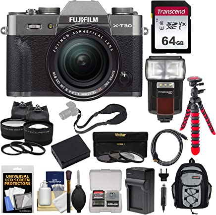 $1329 » Fujifilm X-T30 Wi-Fi Digital Camera & 18-55mm XF Lens (Charcoal) with 64GB Card + Battery + Charger + Tripod + Flash + Backpack + 2 Lens Kit