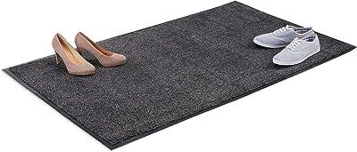 Relaxdays Paillasson gris chiné tapis d'entrée couloir intérieur extra plat mince 90 x 150 cm, noir-gris