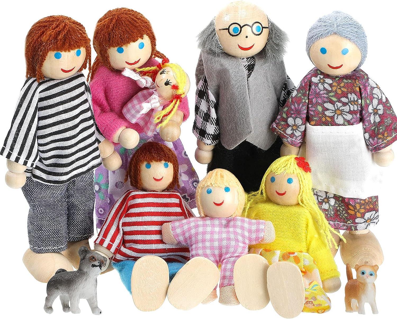 Skylety 10 Familiares de Madera de Casa de Muñecas Juego de 8 Minifiguras de Personas y 2 Mascotas, Muñecas de Madera Figuras Familiares de Juego de Simulación Accesorios Juguetes para Pretender