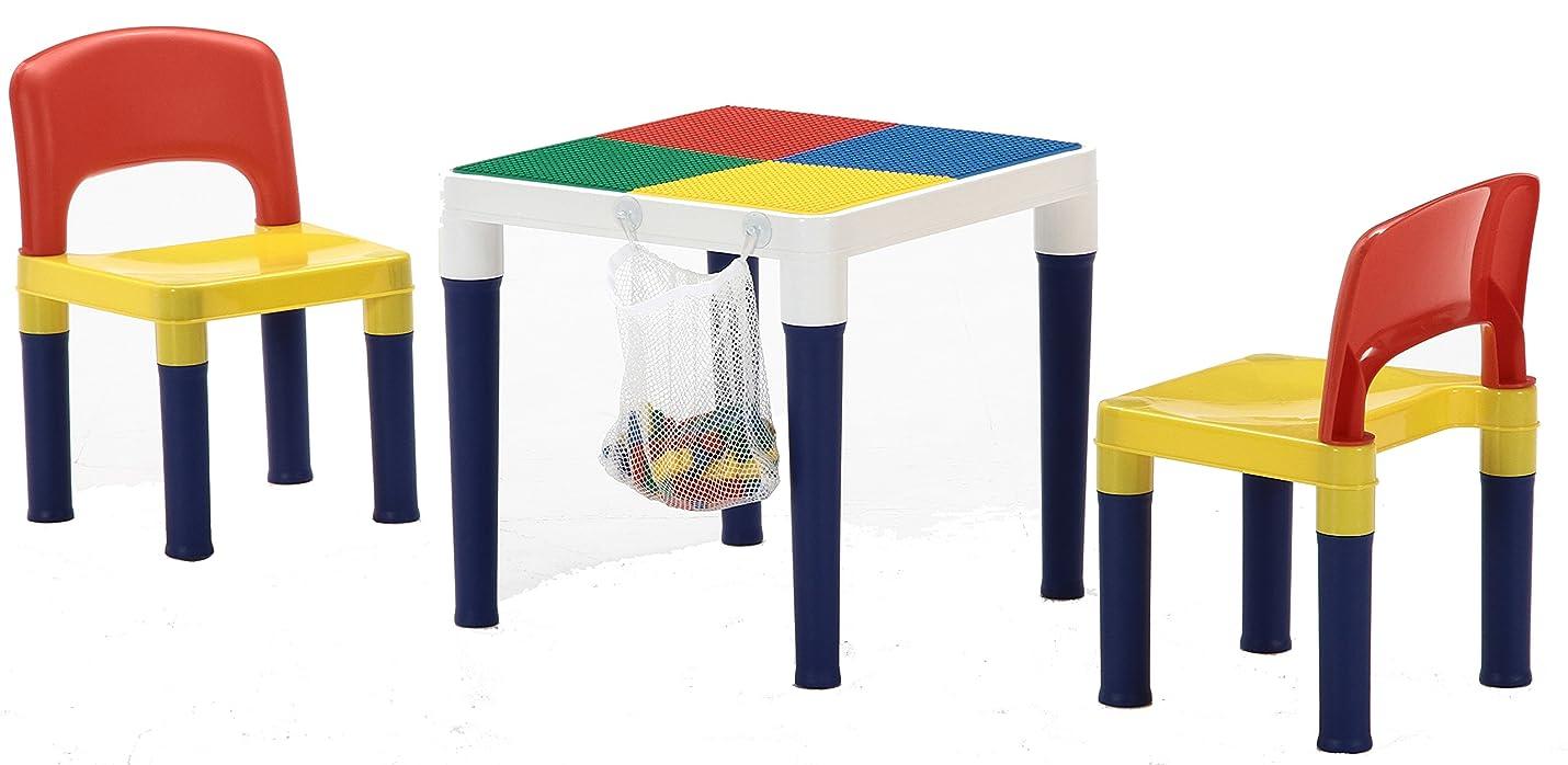 スキー招待把握不二貿易 子供用 テーブル チェア 3点セット 幅43cm 100ピース ブロック付き 95413
