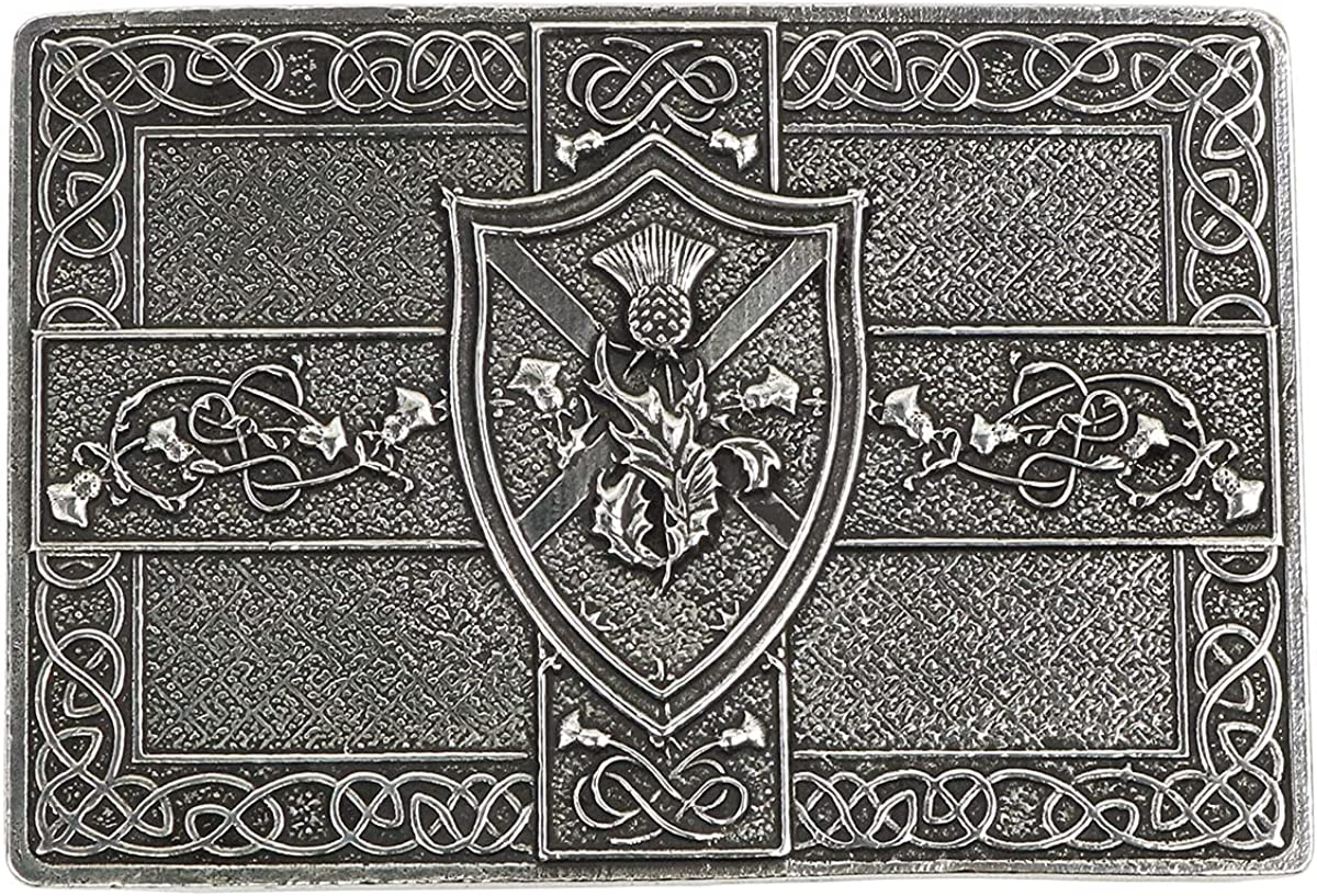 Saltire and mart Thistle Shield Kilt Belt quality assurance in Buckle Made Scotland -