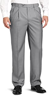 Louis Raphael ROSSO Men's Super 150 Twill Pleated Dress Pant with Comfort Waistband