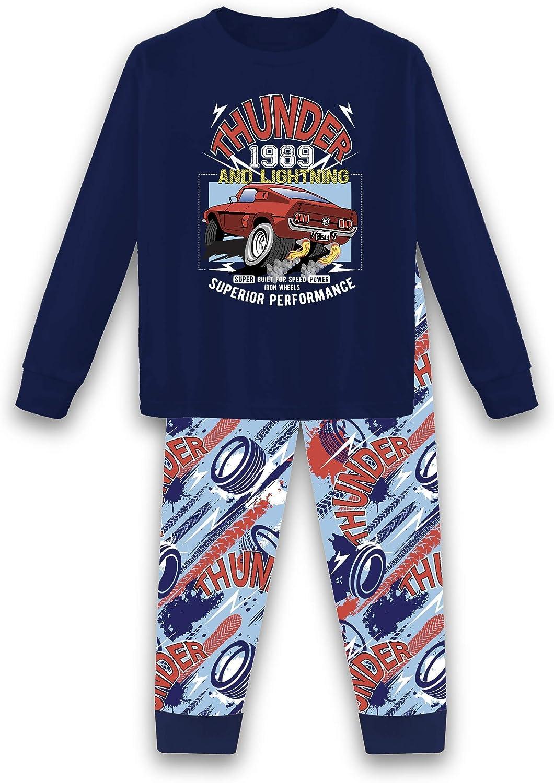 Tender Me Boys Cotton Long Pants and Top Long Sleeve T Shirt Pajama Sleepwear Set (Thunder and Lightning, 4t)