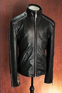 Black Full Aniline Naked Leather Calfskin Scar Stitched High Neck Designer Leather Jacket