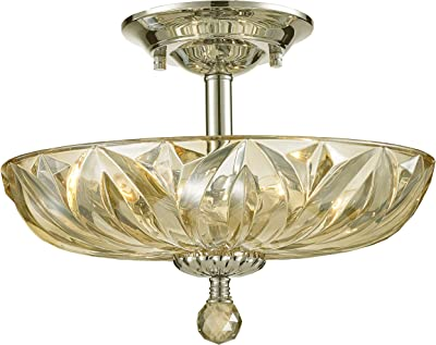 Worldwide Lighting Mansfield Collection 4 Light Chrome Finish and Golden Teak Crystal Bowl Semi Flush Mount