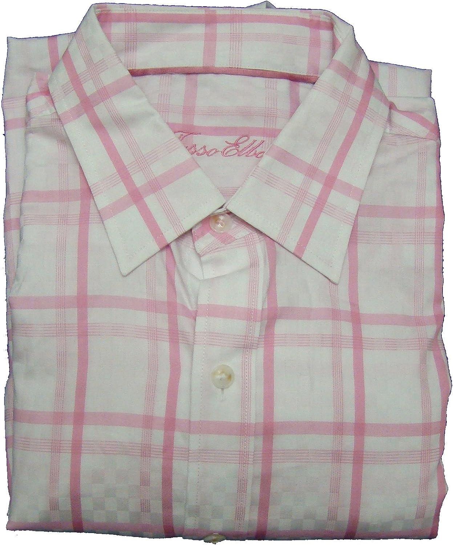 Tasso Elba Pink Checked Long Sleeve Dress Shirt - Size Medium - 15-15 1/2