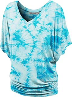 Lock and Love LL Womens V Neck Short Sleeve Tie Dye Drape Dolman Top - Made in USA