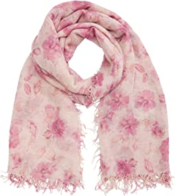 Cashmere and Silk Floral Print Scarf