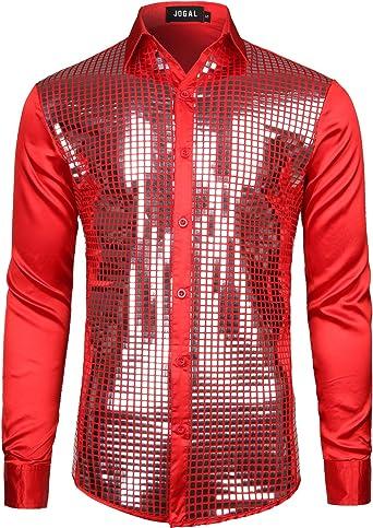 JOGAL Camisa de lentejuelas de los años 70 para hombre, de manga larga, disfraz de fiesta