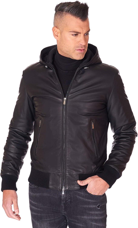 Black hooded nappa lamb leather bomber jacket