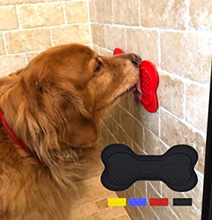 Downtown Pet Supply Silicone Dog Lick Bone - Shower Assistant Lick Pad Distraction Device - Bath Treat Buddy Grooming Helper, Bone Shaped with Strong Suction Cups for Dogs