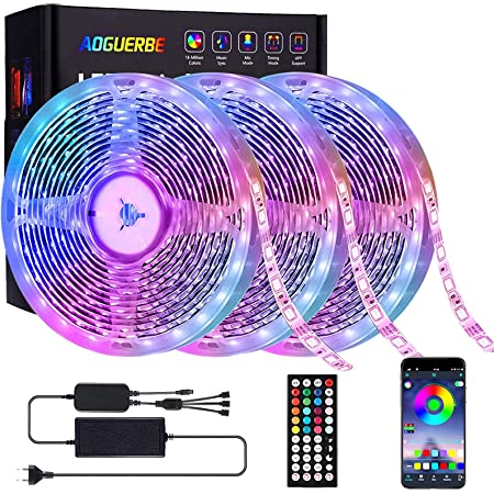 AOGUERBE Striscia LED 15M, Strisce Luminose Luci LED Strip Lights 5050 RGB Musica Cambia Colore Striscia Luminosa 44 Tasti Telecomando IR Nastri Decorativa per Casa Cucina Feste [Controllato da APP]