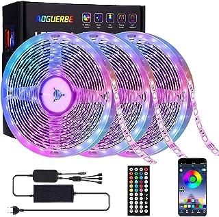 Tiras LED 15M, AOGUERBE Luces LED RGB con Remoto Control de 44 Botones & APP controlada, Tira de Luz de Cambio de Color de...