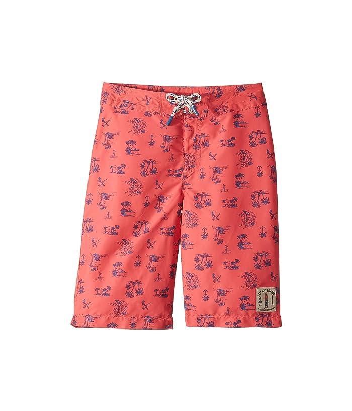 Lucky Brand Kids Palm Bear Boardshorts (Big Kids) (Cayenne) Boy