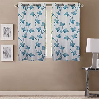 Queenzliving Polyester Floral Curtain, 5 feet, Blue, Sky Blue, Pack of 2