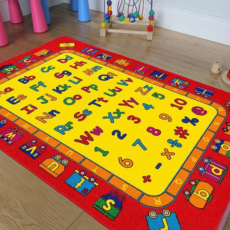Kids Baby Room Daycare Classroom Playroom Area Rug ABC Alphabet Train Educational Fun Non Slip Gel Back Play Mat 5 Feet X 7 Feet