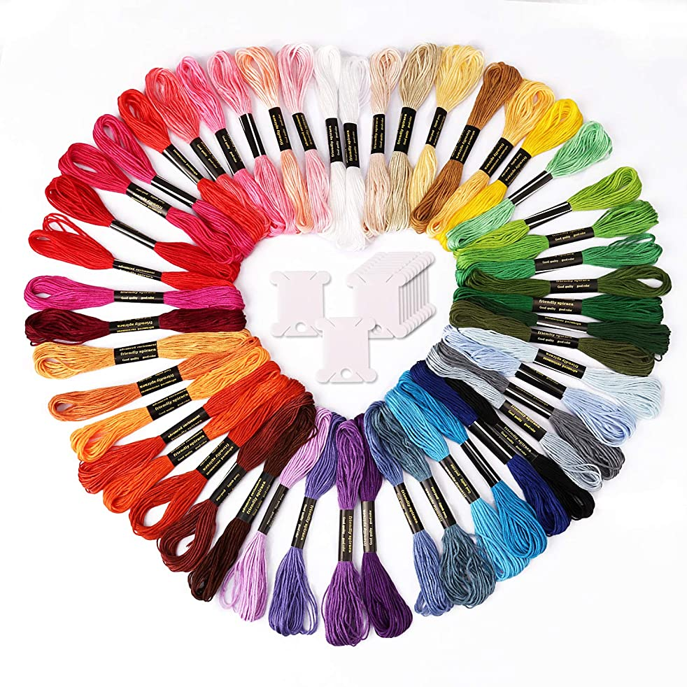 CIEHER Rainbow Color Embroidery Floss - Cross Stitch Threads - Friendship Bracelets Floss - Crafts Floss with 12 Pieces Floss Bobbins