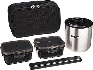 TIGER 虎牌 保温瓶 保温 饭盒 不锈钢 午餐 阔口保温瓶 碗 约2.3碗 带杯套 黑色 LWY-E461-K Tiger