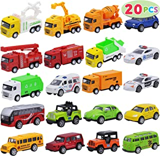 JOYIN 20 Piece Die Cast Pull Back Metal Toy Car Model Vehicle Set for Toddlers, Girls and Boys Kids Play Car Set