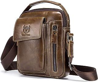 حقيبة يد وكتف بحزام طويل يمر بالجسم للرجال من الجلد الطبيعي من جينيان بتصميم عادي ملائم للسفر