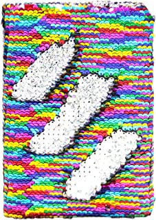 MHJY Sequin Journal Mermaid Sequin Notebooks Reversible Glitter Journals School Diary Notebook Color-Changing Notebook for Girls Gift (Rainbow/Sliver)