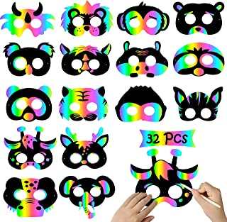 WATINC 32Pcs Animal Scratch Paper Masks, DIY Magic Rainbow Mask for Kids Jungle Animal Party Favors, Birthday Gifts, Craft Pack for Boys Girls, 16 Styles with Elastic Bands and Wood Stylus