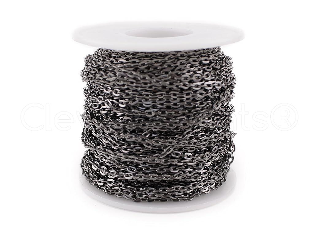 CleverDelights Rolo Chain Roll - 30 Feet - Gunmetal (Dark Silver) Color - 3x4mm Link - Bulk Spool