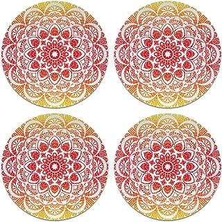 CARIBOU Coasters CB-WHTFAB-4-A4980, Red Orange Mandala Design Absorbent Round Fabric Felt Neoprene Coasters for Drinks, 4p...