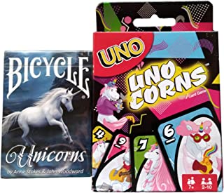 UNO UNOcorns and Bicycle Unicorn Playing Cards Bundle (2 Pieces)