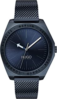 ساعة للرجال من هوغو بوس بمينا ازرق اللون وسوار من الستانلس ستيل بطلاء ازرق ايوني - 1530109
