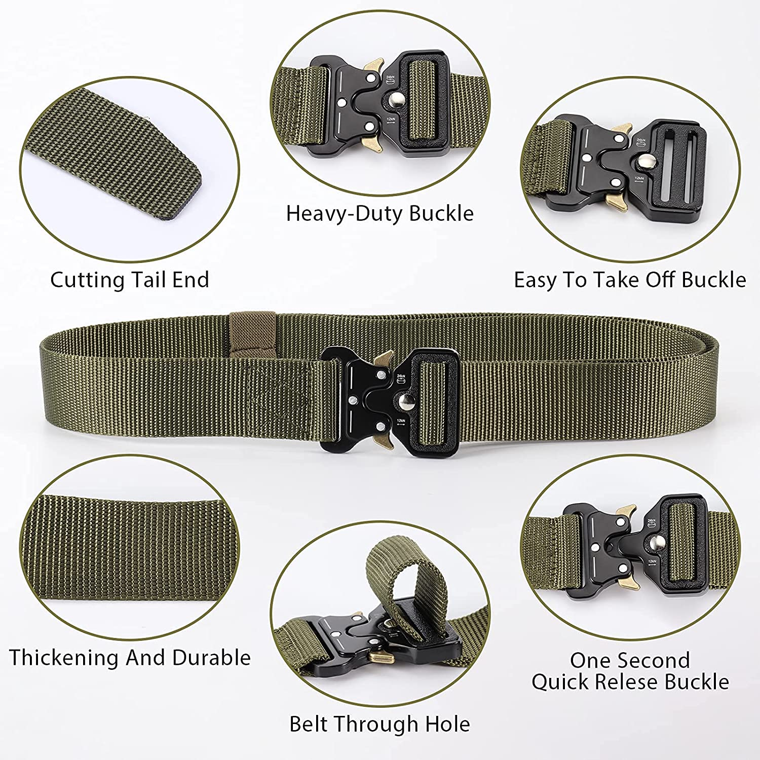 Facynos 2-Packs Tactical Sport Belt, Military Style Webbing Riggers Gun Belt, Hiking Belt with Quick Release Metal Buckle