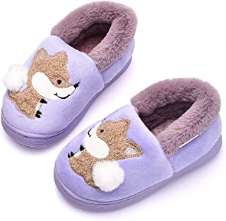 Ainikas Toddler Boys Girls Slippers Fluffy Little Kids House Slippers Warm Fur Cute Animal Home Slipper, Purple 14-15