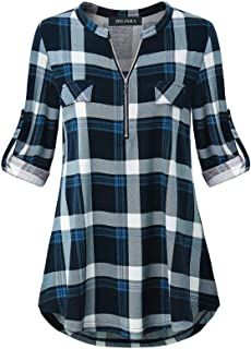 DILISHA Women's 3/4 Sleeve Zipper V Neck Shirts Casual Blouses Tunic Tops