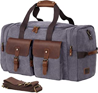 WOWBOX Duffel Bag Weekender Bag for Men and Women Genuine Leather Canvas Travel Overnight Carry on Bag with Shoes Compartment Grey