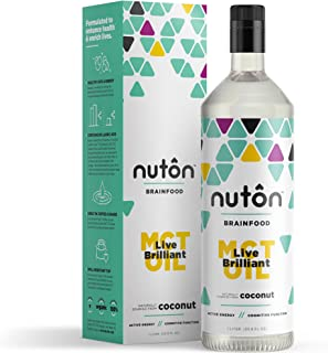Natural MCT Oil by Nuton, C8 and C10 only Blend from Organic Coconuts - 33.8oz (1 Liter) | No C12 (Lauric Acid), Great for...