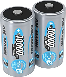 Ansmann 5030642-590 4 Pack 10,000mAh High Capacity High Rate NiMH Rechargeable Batteries Size D Cell 2-Pack