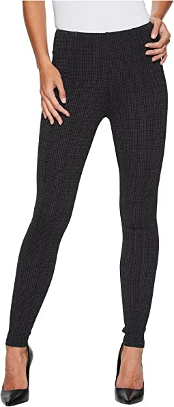 Liverpool - Reese Ankle Leggings with Slimming Waist Panel in Texture Houndstooth Ponte Knit in Magnet