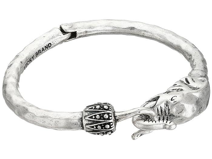 Lucky Brand  Bombay Fillagree Elephant Cuff (Silver) Bracelet