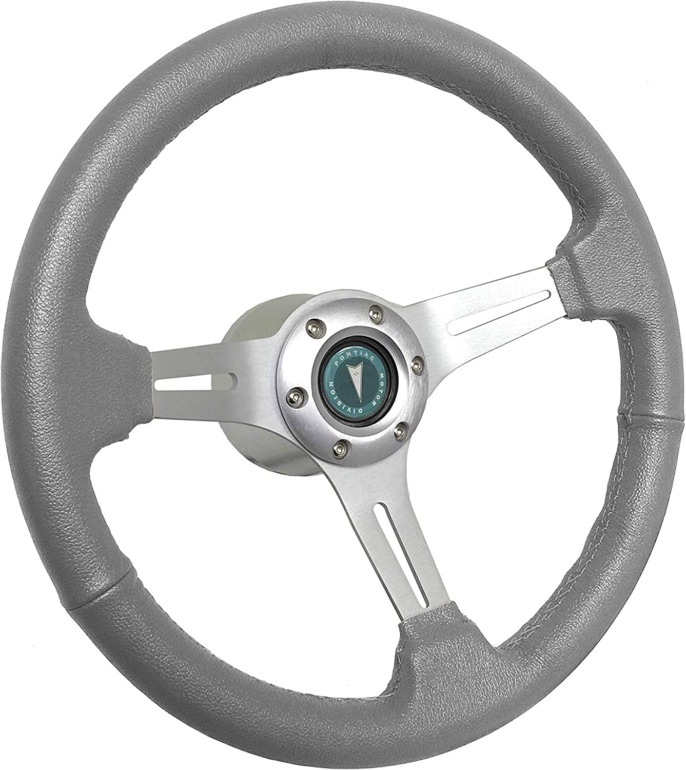 1969-1989 Seattle Mall Pontiac S6 Grey Leather C Brushed Kit Max 84% OFF Wheel Steering