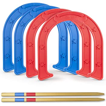 GoSports Giant Horseshoes Yard Game Set | Made from Durable Plastic with Wooden Stakes - Outdoor Horseshoes for Kids & Adults