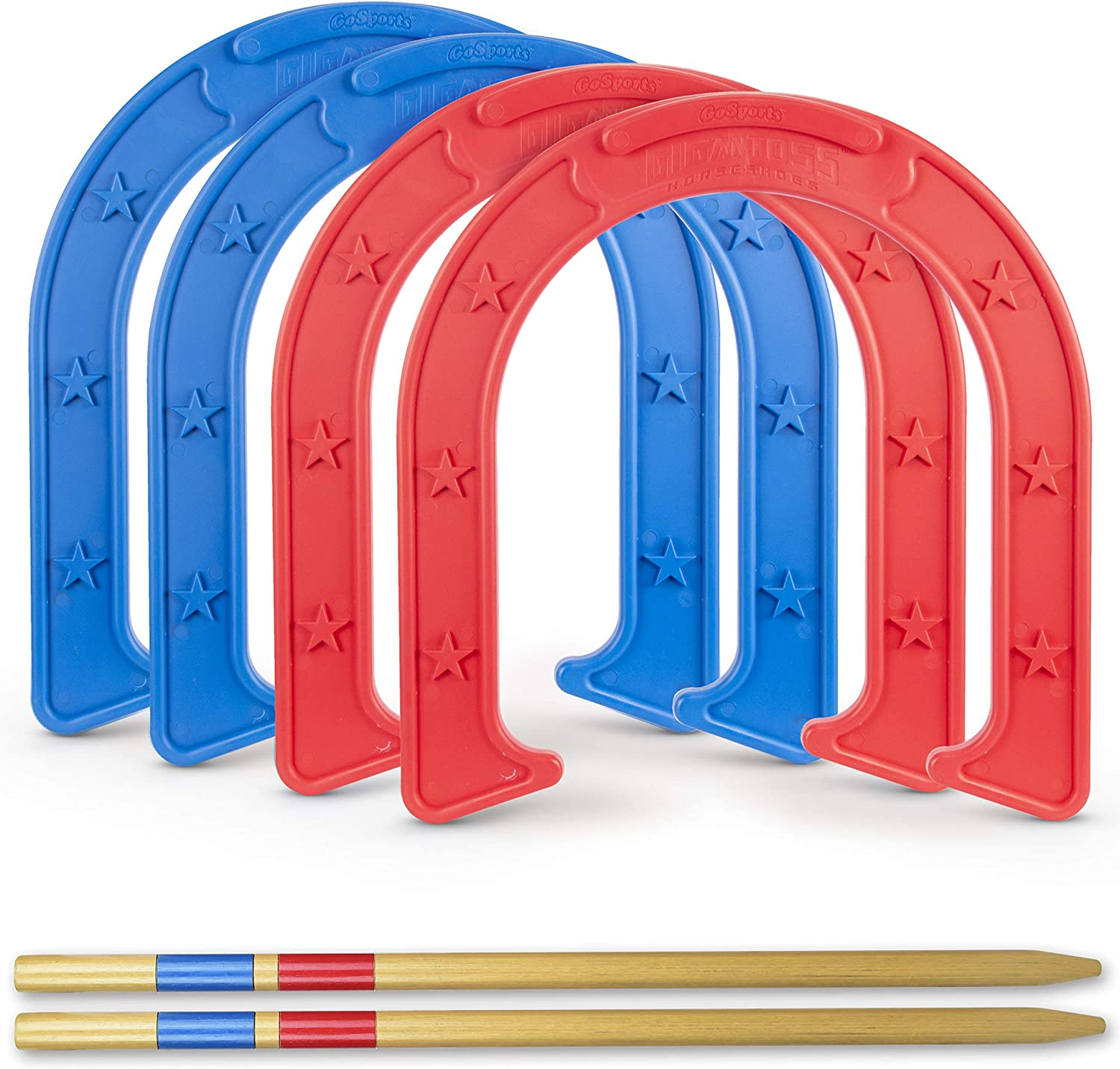GoSports Giant Horseshoes Set   Made from Durable Plastic with Wooden Stakes