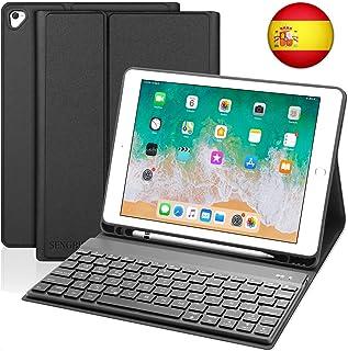 SENGBIRCH Teclado para iPad 2018,Funda Teclado Español para iPad Air 2/iPad Air/iPad 2018(6th Gen)/iPad 2017/iPad Pro 9.7 con Teclado Bluetooth Retroiluminado,con Protectora Soporte Smart Case,Negro