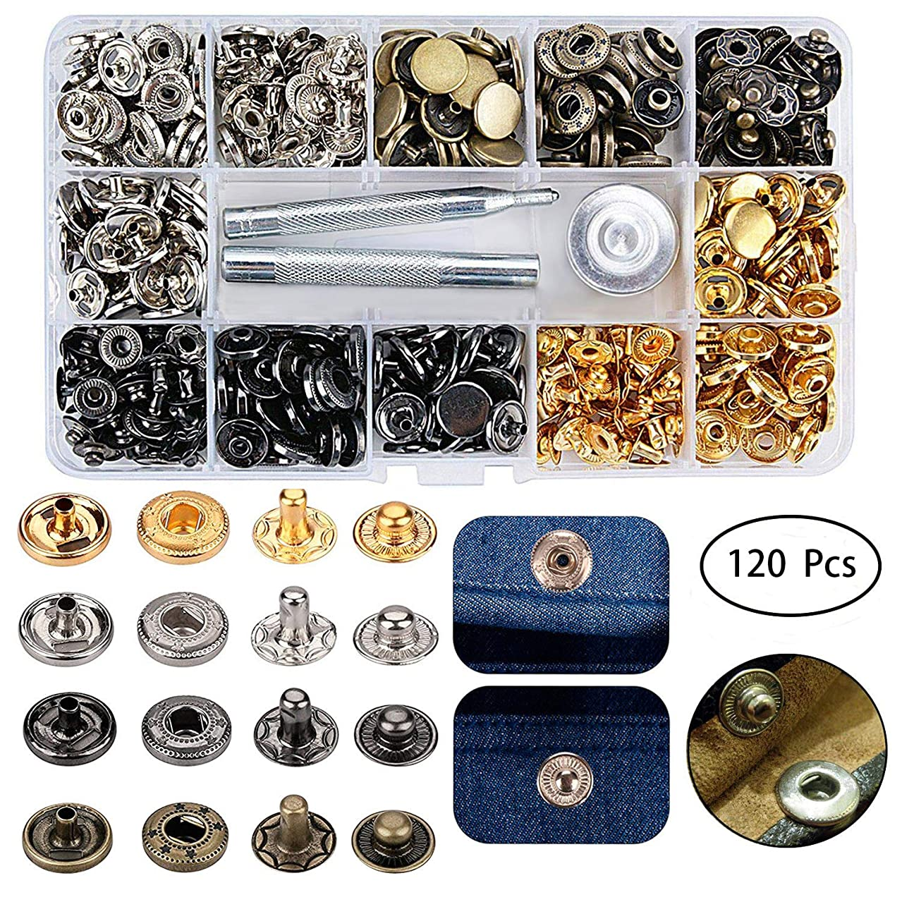 120 Pcs Snap Fasteners Kit,15mm Metal Snap Buttons Press Studs,3 Pieces Fixing Tools and Transparent Storage Box, 4 Color Clothing Snaps Kit for Leather, Jacket, Jeans Wear, Bracelet, Bags