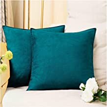 (50cm x 50cm (No Insert), Deep Teal) - 2-Pack Cushion Covers Solid Colour Comfortable Faux Suede Decorative Throw Pillow C...