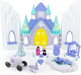 Boley Ice Castle Princess Dollhouse - 26 Piece Doll House Toy Playset with Large Magical Musical Castle, Little Princesses, Palace Furniture and Frozen Kingdom Garden for Little Girls