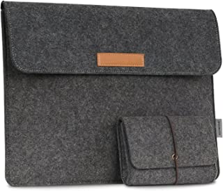 MoKo 13 5 Inch Laptop Sleeve Case Bag Compatible with Surface Laptop 13 5  2 1 Surface Book 13 5  Felt Protective Ultrabook Carrying Case Cover  with Small Felt Bag Two Back Pockets Dark Gray