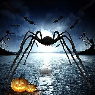 KSPOWWIN 6 أقدام كبير هالوين العنكبوت، هالوين العنكبوت، كبير وهمية الشعر، عنكبوت خارجي مخيف الفراء الأسود العناكب خارج الم...