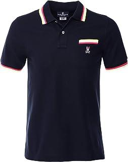 Psycho Bunny Men's Pima Cotton Reardon Pocket Polo Shirt Navy